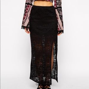 Band of Gypsies Lace Maxi Skirt with Thigh Split